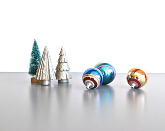 Bright Striped Vintage Christmas Ornaments - Set of 3