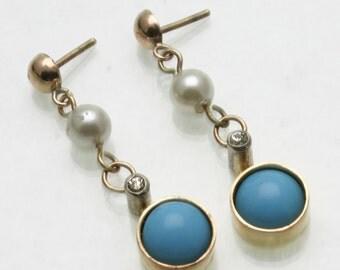 Vintage 14k yellow gold Turquoise Pearl CZ Bezel Dangle drop Earrings Estate