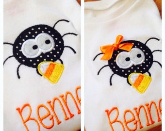 Boy or Girl Personalized Halloween Spider Candy Corn Appliqué Shirt