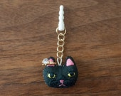 Cat Face earphone jack accessory - Black (ears are Pink)