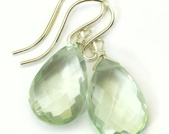 Green Amethyst Earrings Prasiolite Faceted AAA Pear Teardrop 14k Gold Filled or Sterling Silver Pear Shape Simply Daily Pale Soft Green Drop