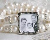Pearl Photo Bridal Bracelet Freshwater Pearls Photo bracelet, Bridal Gift Mother of the bride bracelet Wedding Bracelet Grandmother gift