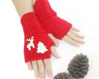 Free Shipping, Red Gloves, Fingerless Gloves, Mittens, Hand knit fingerless gloves, Red, Pine and deer, Boho knit glove, Knit gloves