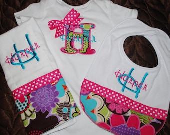 Baby Girl Gift Set- Bodysuit, Bib, and Burp Cloth, Retro Colors