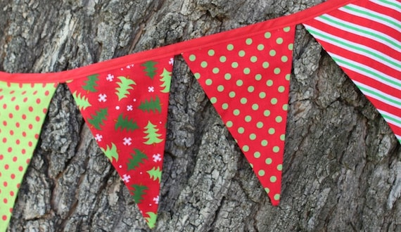 Christmas Fabric Bunting Holiday Pennant Fabric Flag Banner
