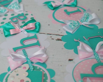 Cupcake Happy Birthday Banner Teal/Aqua, Light Pink, White polka dot