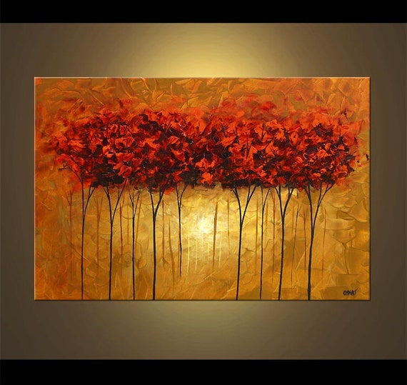 Landscape Red Blooming Trees Painting Original Abstract Modern