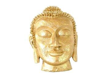 buddha head, metallic gold, wall decor, buddha mask, golden, buddha wall art
