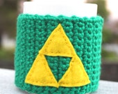 Triforce -ish Coffee Mug Tea Cup Cozy: Legend of Zelda Inspired Tri Force -ish Crochet Knit Sleeve