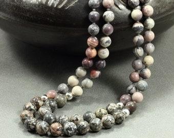 Jasper and Feldspar Two-Strand Necklace, Silver Leaf Jasper, Terra Rosa Jasper, Mauve Necklace, Multi-Strand Necklace