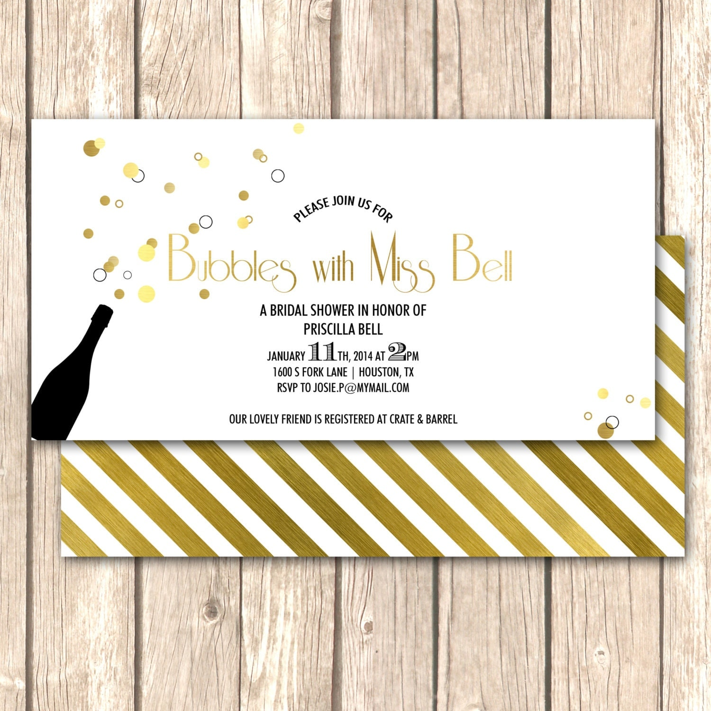 Champagne bridal shower invitation bridal brunch by for Champagne brunch bridal shower