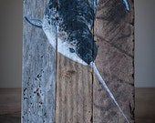 Narwhal original hand painted on upcycled lobster trap wood