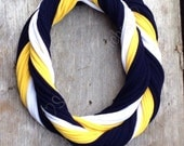 University of Michigan Inspired Loopy Infinity Scarf - Blue Yellow White Football Jersey Necklace - Michigan Scarf
