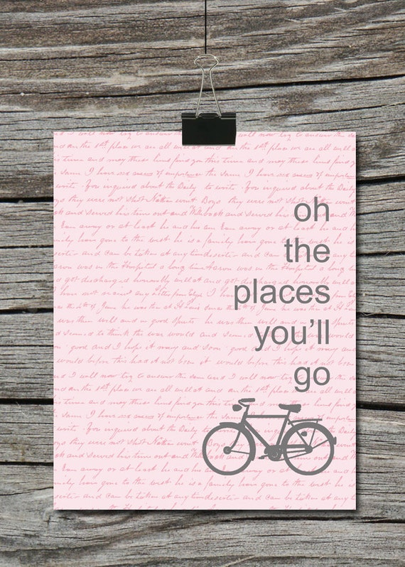 Oh The Places You Ll Go Bike Quote Poster Blue Green