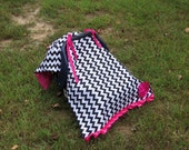 Black pink rose chevron stripe tent canopy car seat cover baby infant baby blanket