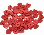 50 Shiny Red Valentine Heart Buttons for Sewing and Crafts, size 12mm (1/2 inch), with gift wrap