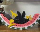 Crow on Watermelon, Summertime decoration, handpainted, shelf sitter