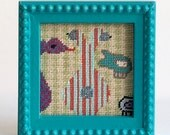 Fish Art, Sea Creatures Framed Embroidery Kids Room Decor