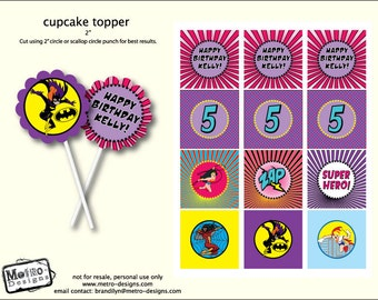 Female Superhero Cupcake Toppers