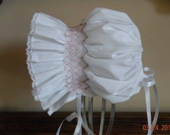 Hand smocked baby bonnet