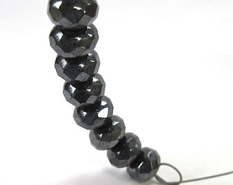 Dark Gray Beads, Czech Glass Rondelles, Fire Polished Faceted Beads, 9mm x 6mm Faux Hematite, Near Black Beads, Imitation Gemstones 8 Pieces