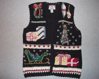 Christmas Morning Sweater Vest Winter Wonderland Tree Button Up Tacky Gaudy Ugly X-Mas Party L Large