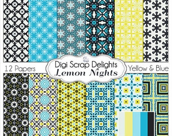 Lemon Nights Digital Papers for Scrapbooking Paper Aqua,Yellow, & Black, Backgrounds, Card Making, Web Design