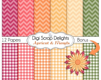Apricot Chevron Digital Papers, w Peach, Pink, Plum & Green Scrapbooking, Crafts, Invitations, Digital Scrapbooking