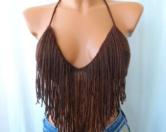 Festival Halter Crop Top Fringes Top Fringes Brown Color Top Halter Tank Backless Music Top Retro Corset Bandeau Bustier Music Bikini Hippie