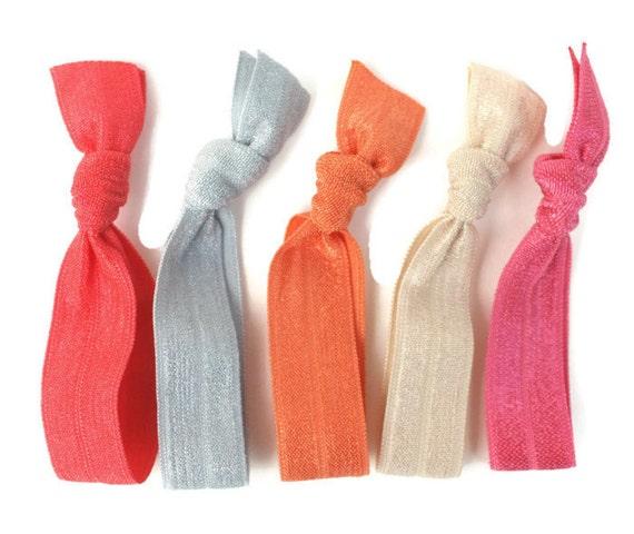 Hair Ties by Preppy Pieces - No Tug Hair Ties (5) Yoga Hair Tie Ponytail Holder - Ribbon Hair Bands - Like Emi Jay Elastic Gentle Hair Ties