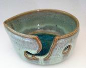Handthrown Ceramic Yarn Bowl (Knitting Bowl) in Light Green