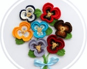 Crochet Applique -  Multicolored Flowers Pansy Viola Flowers  - Any Colour - Made to Order