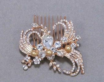Gold Headpiece, Silver Hair Comb, Rhinestone Crystal Wedding Hair Comb, Feather Comb, Bridal Hair Comb, Wedding Hair Comb, Pearl Hair Comb