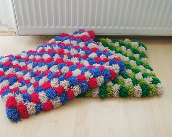 Pom Pom Bath Mat, Bathroom Rug,doormat,pet mat,pom pom rug, Bathroom Rug, Spa Collection