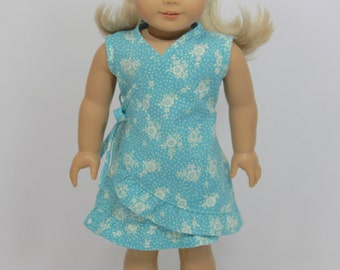 SALE - Spring / Summer Blue Wrap Dress & Head Scarf for American Girl Doll
