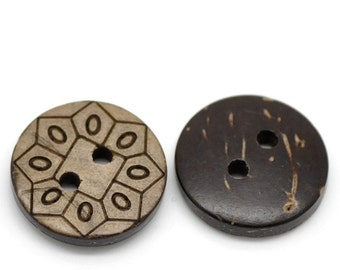 """CLEARANCE 20 pcs Geometric Coconut Buttons 15mm """"5/8 (WB2047)"""