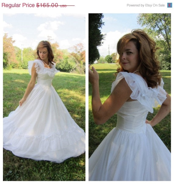 Vintage Wedding Dress 80's White Southern By