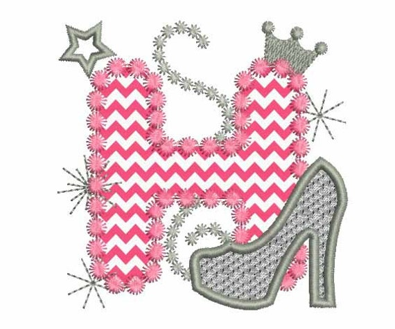 pink silver letter h high heel shoe for cute girls applique