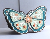 Handmade shaped & layered standing Butterfly Card perfect for Mother's Day Card or Birthdays, etc