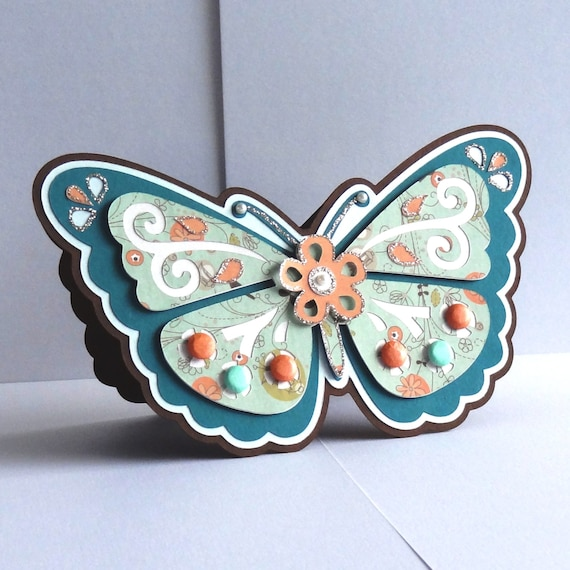 Handmade shaped & layered standing Butterfly Card perfect for Mother's Day or Birthdays, etc