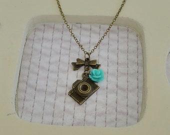 Retro Camera Antique Brass Necklace