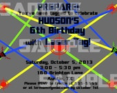 Boy Bullseye Laser Tag Birthday Invitation