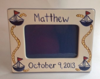 Personalized 4 x 6  Sailboat Birth Frame