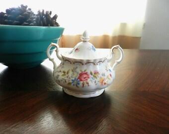 80's ROYAL ALBERT Sugar Bowl - Classic / Jubilee Rose / Floral Design / Tea / Porcelain / England