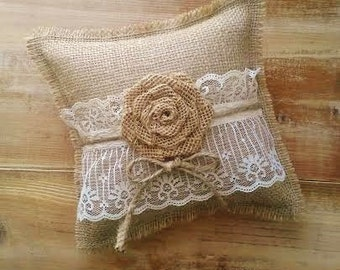 "8"" x 8"" Burlap Ring Bearer Pillow With Lace & Rosette/Jute Twine- Rustic/Country/Shabby Chic/Folk/Wedding-Vintage"