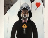 Fine Art Print: Banksy Squirrel. Pop Surrealism Animal Art