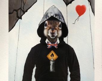 Fine Art Print: Banksy Squirrel. Pop Surrealism Animal Art