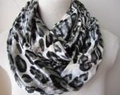 Black grey gray leopard velvet infinity women's scarf,animal print women scarf under 10 dollars