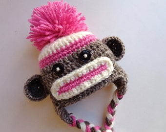Newborn Crochet Pink and Brown Sock Monkey Hat Photo prop Baby Girl Baby Boy