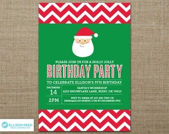 Santa Birthday Party Invitation - Christmas Birthday Invitation - Holiday Birthday Invitation - Christmas Printable - Holiday Printable